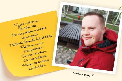 Kuvassa punatakkinen hymyilevä henkilö sekä runo