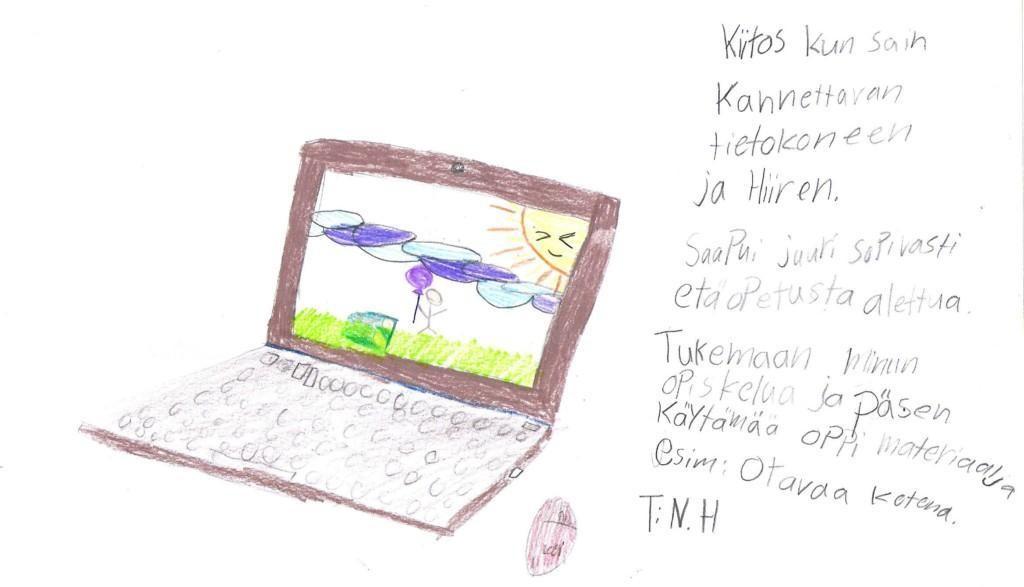 Lapsen kiitoskirje saamastaan tietokoneesta.
